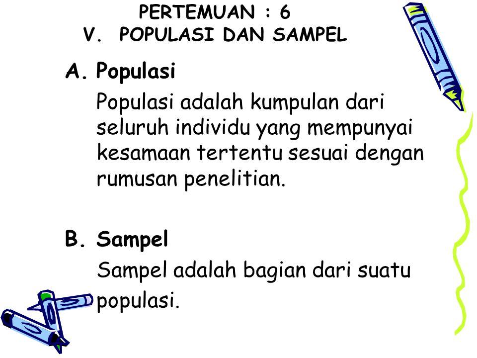 PERTEMUAN : 6 V. POPULASI DAN SAMPEL