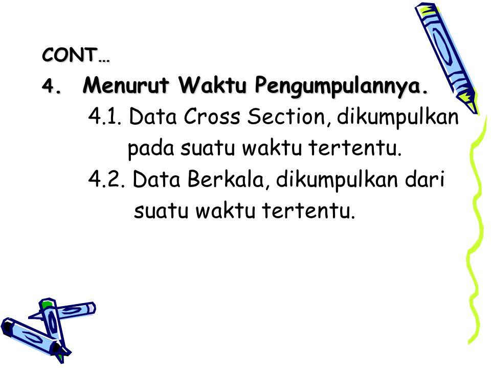 4.1. Data Cross Section, dikumpulkan pada suatu waktu tertentu.