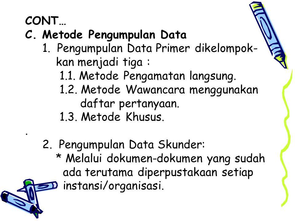 CONT… C. Metode Pengumpulan Data. 1. Pengumpulan Data Primer dikelompok- kan menjadi tiga : 1.1. Metode Pengamatan langsung.