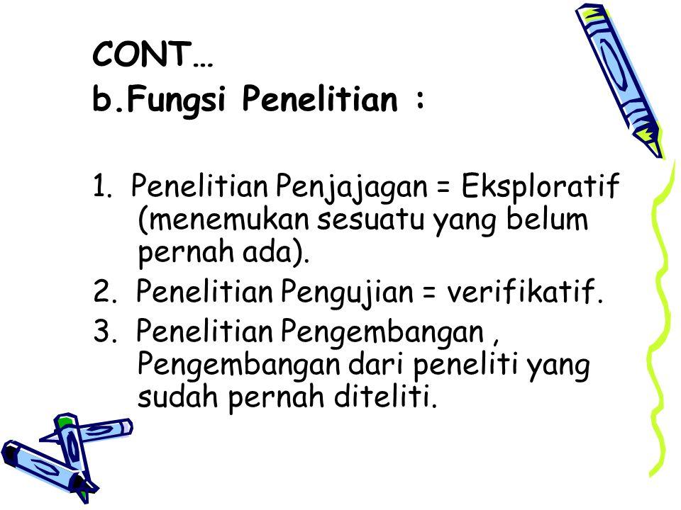 CONT… b.Fungsi Penelitian :