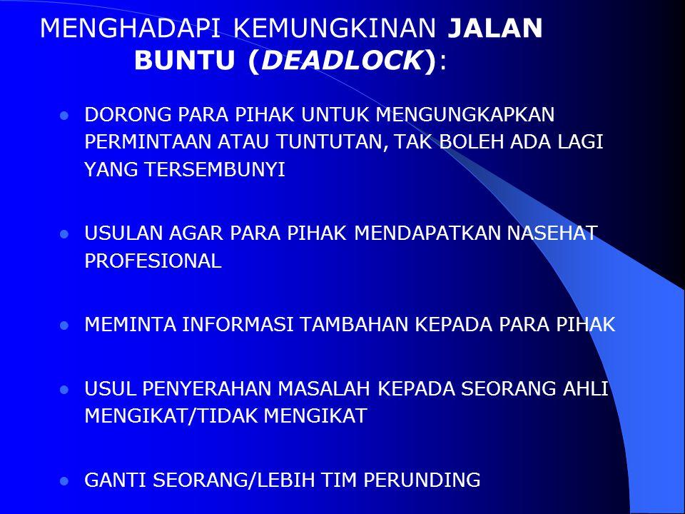 MENGHADAPI KEMUNGKINAN JALAN BUNTU (DEADLOCK):