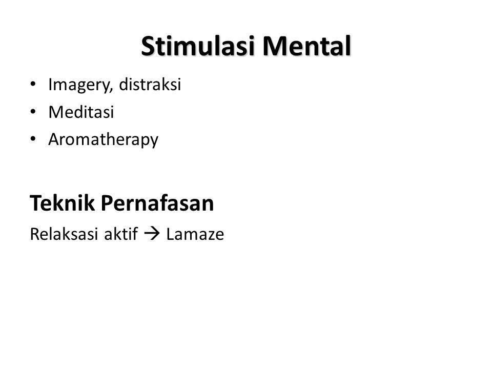 Stimulasi Mental Teknik Pernafasan Imagery, distraksi Meditasi