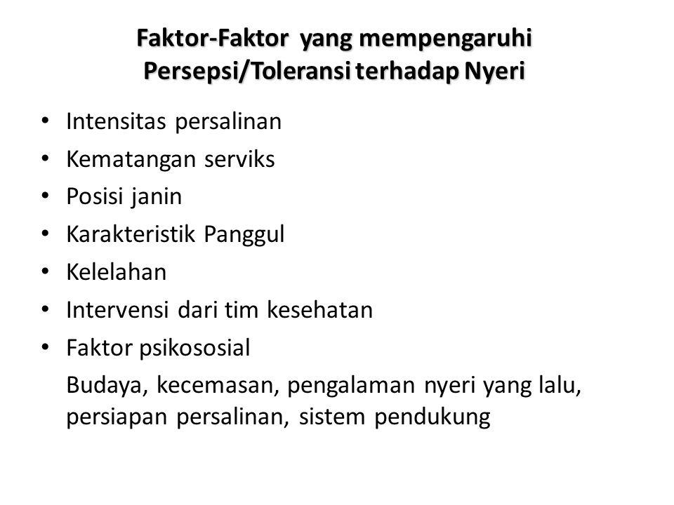 Faktor-Faktor yang mempengaruhi Persepsi/Toleransi terhadap Nyeri