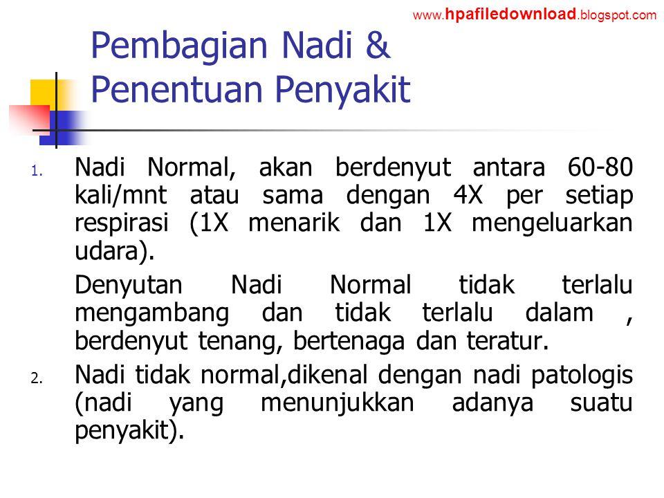 Pembagian Nadi & Penentuan Penyakit
