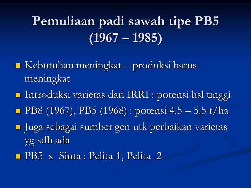Pemuliaan padi sawah tipe PB5 (1967 – 1985)