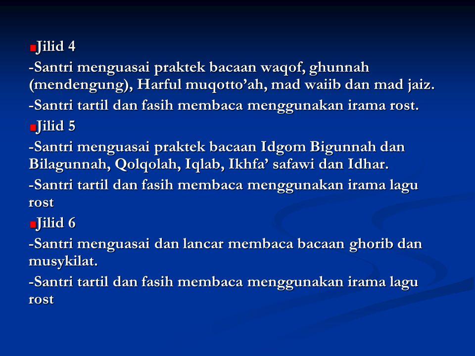 Jilid 4 -Santri menguasai praktek bacaan waqof, ghunnah (mendengung), Harful muqotto'ah, mad waiib dan mad jaiz.
