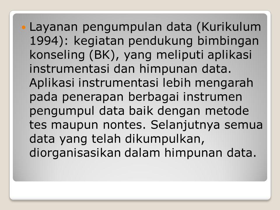 Layanan pengumpulan data (Kurikulum 1994): kegiatan pendukung bimbingan konseling (BK), yang meliputi aplikasi instrumentasi dan himpunan data.