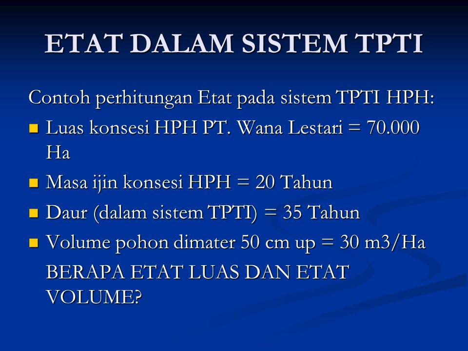 ETAT DALAM SISTEM TPTI Contoh perhitungan Etat pada sistem TPTI HPH: