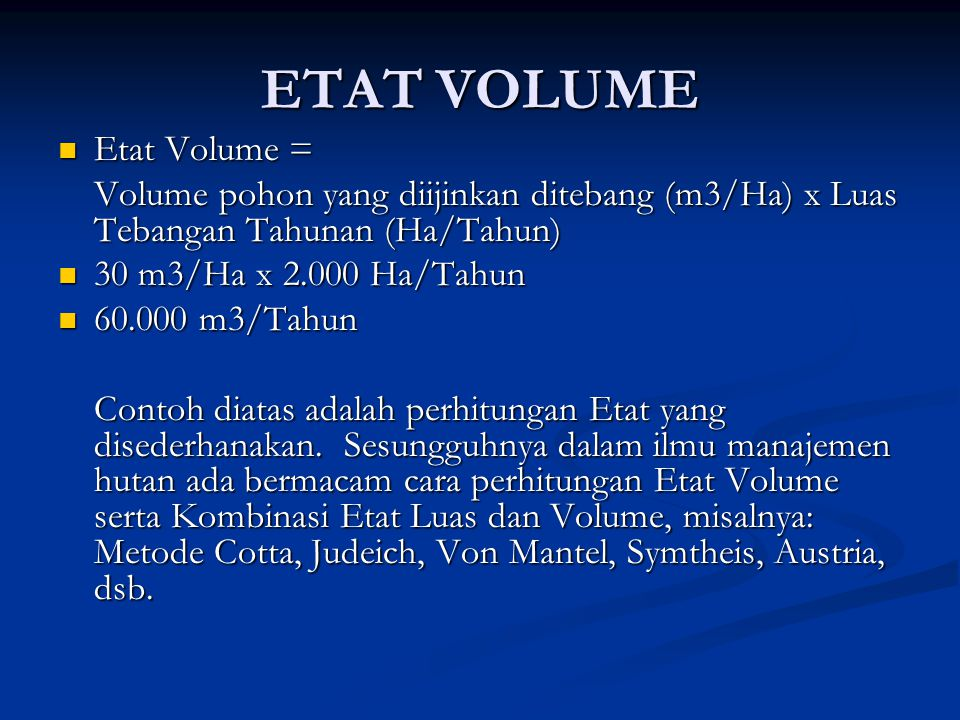 ETAT VOLUME Etat Volume =