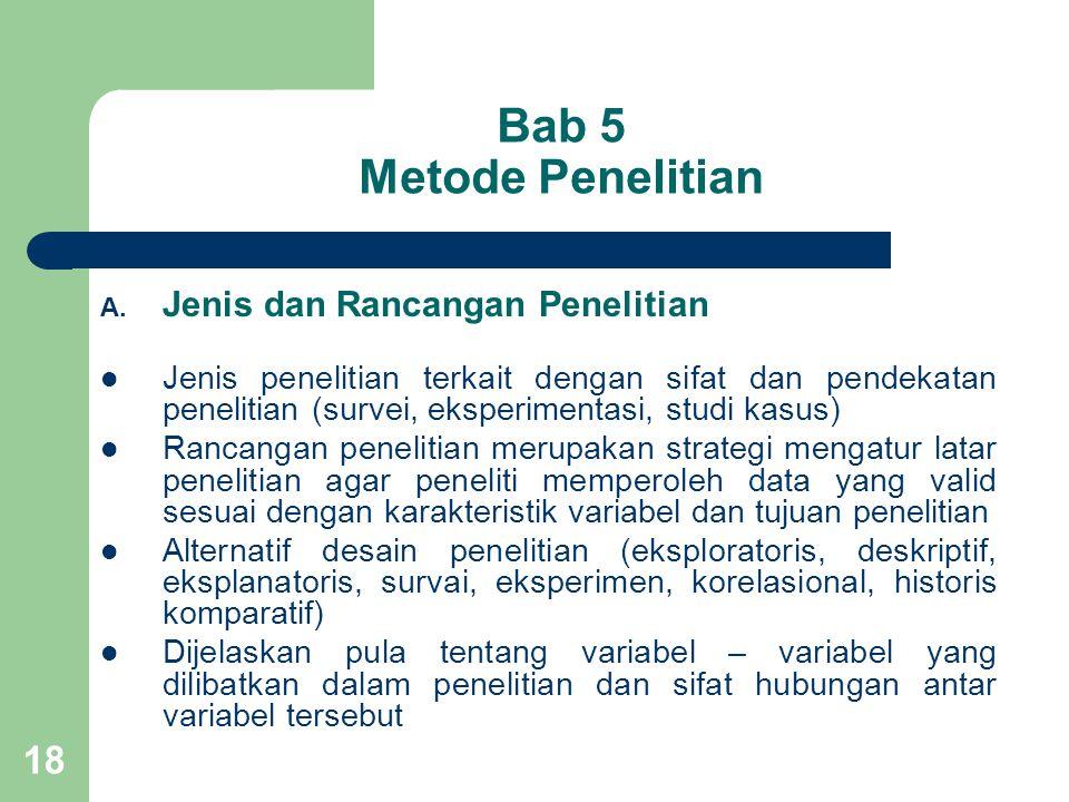 Bab 5 Metode Penelitian Jenis dan Rancangan Penelitian