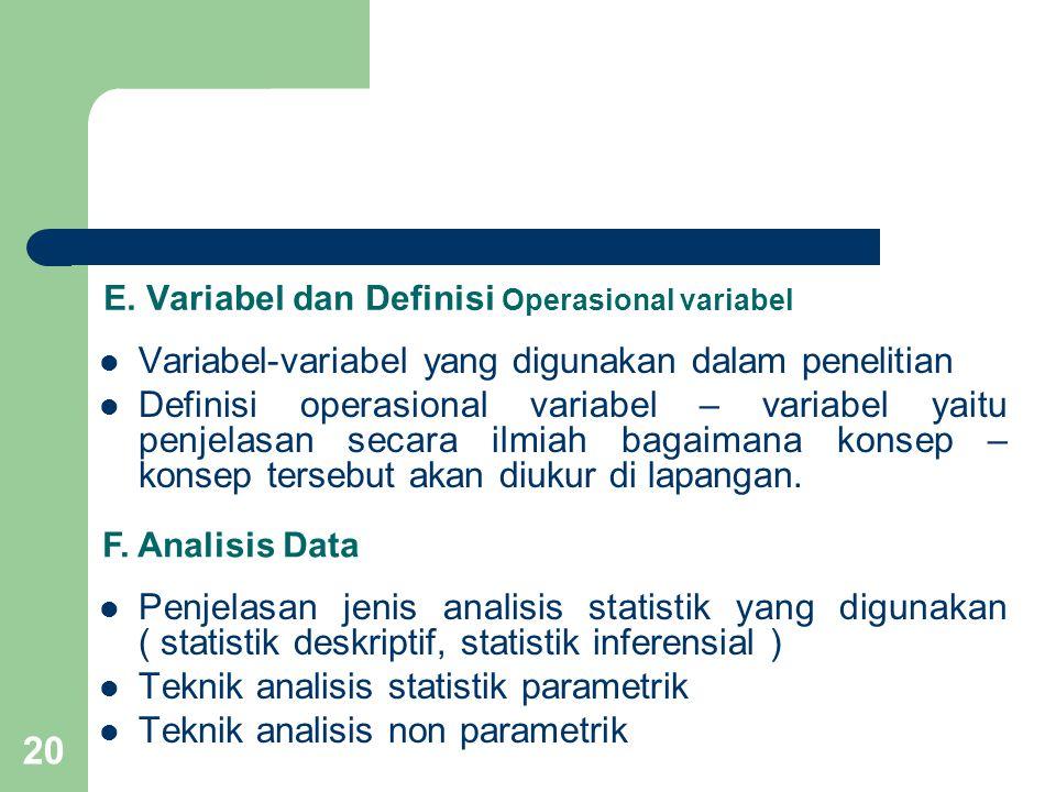 E. Variabel dan Definisi Operasional variabel