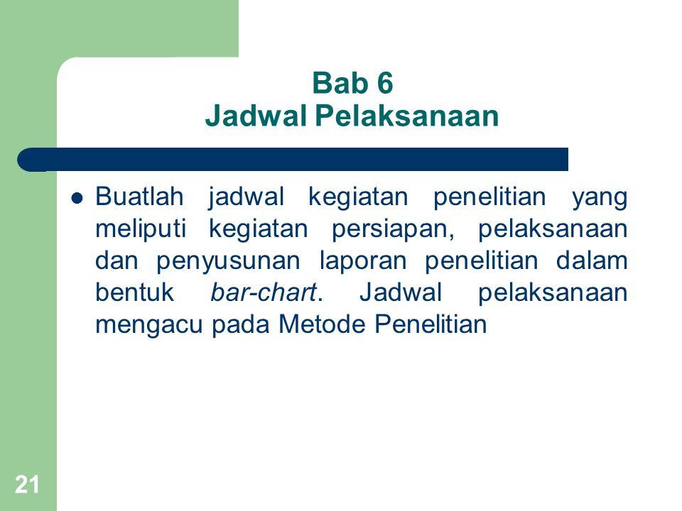 Bab 6 Jadwal Pelaksanaan