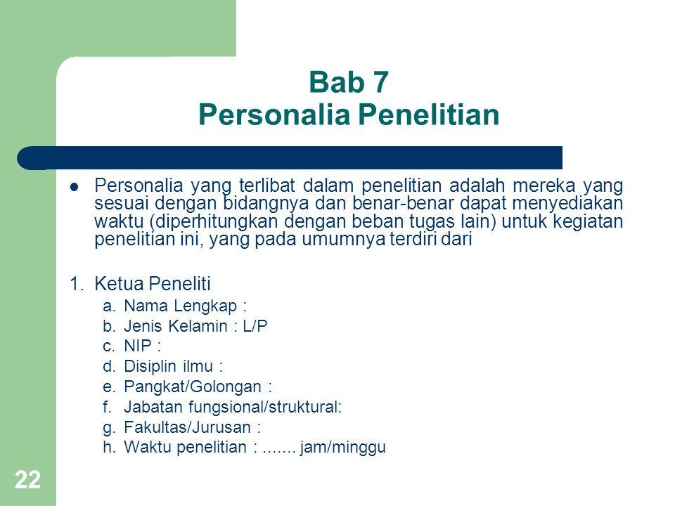 Bab 7 Personalia Penelitian