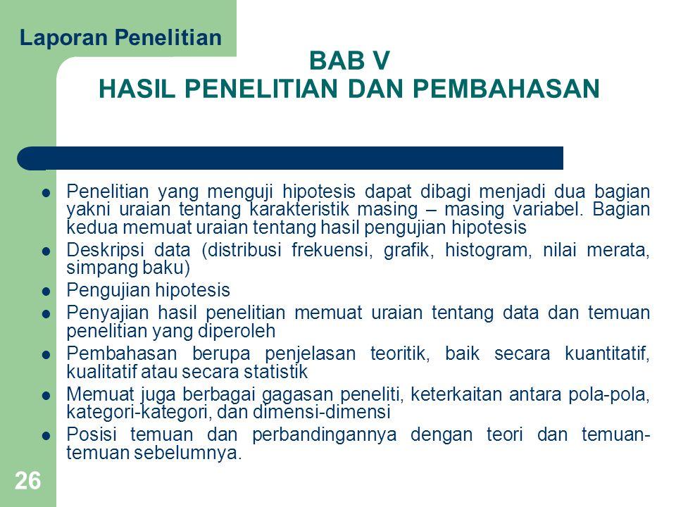 BAB V HASIL PENELITIAN DAN PEMBAHASAN