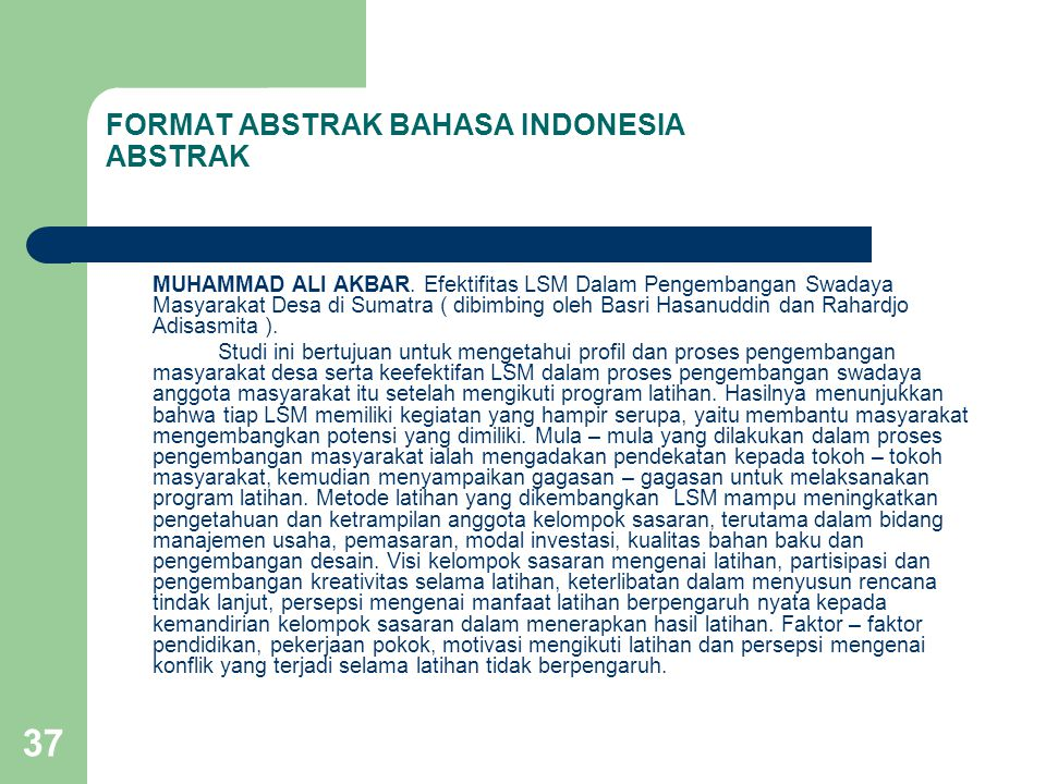 FORMAT ABSTRAK BAHASA INDONESIA ABSTRAK