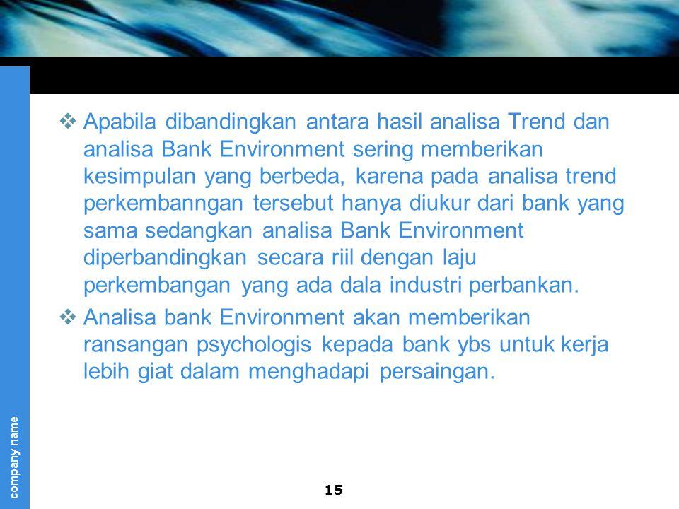 Apabila dibandingkan antara hasil analisa Trend dan analisa Bank Environment sering memberikan kesimpulan yang berbeda, karena pada analisa trend perkembanngan tersebut hanya diukur dari bank yang sama sedangkan analisa Bank Environment diperbandingkan secara riil dengan laju perkembangan yang ada dala industri perbankan.