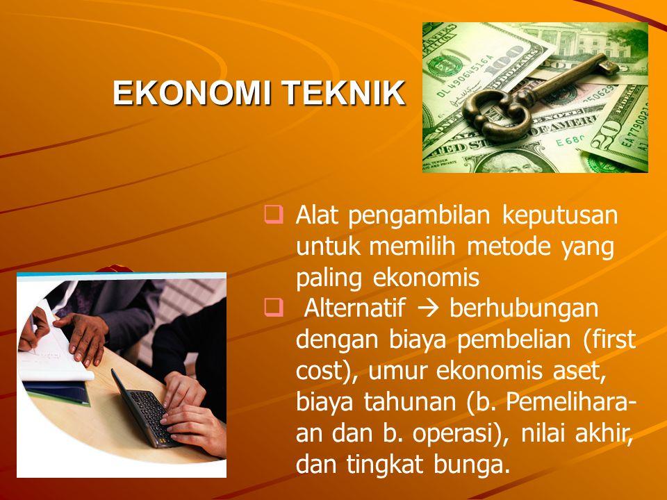 EKONOMI TEKNIK Alat pengambilan keputusan untuk memilih metode yang paling ekonomis.