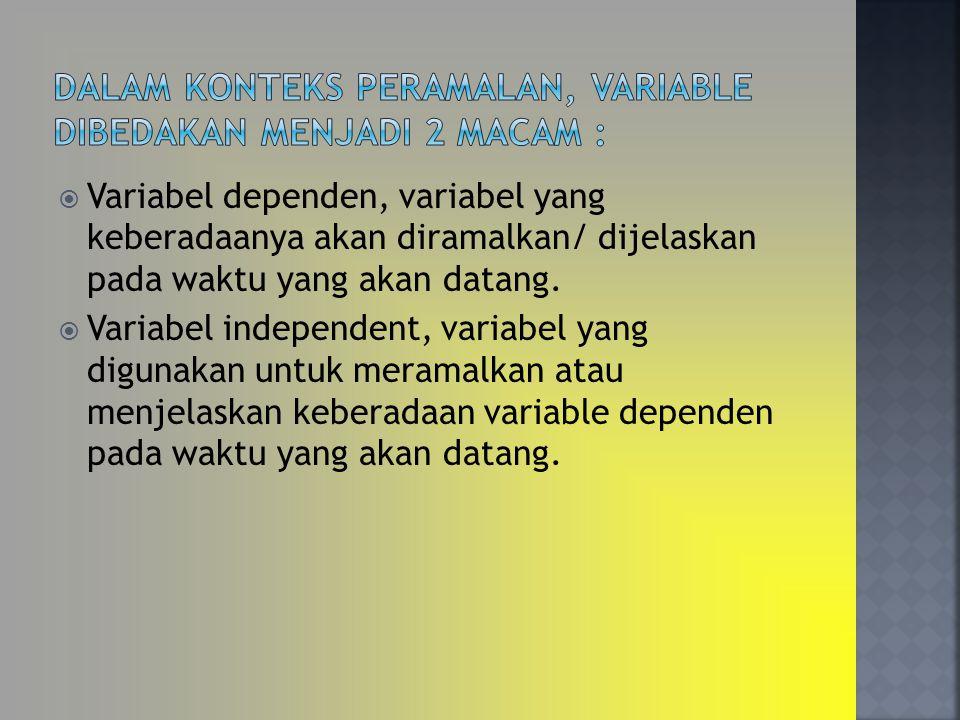 Dalam konteks peramalan, variable dibedakan menjadi 2 macam :