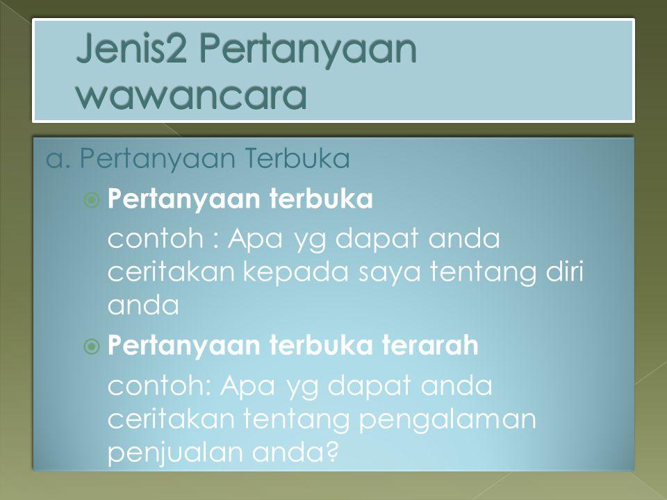 Jenis2 Pertanyaan wawancara