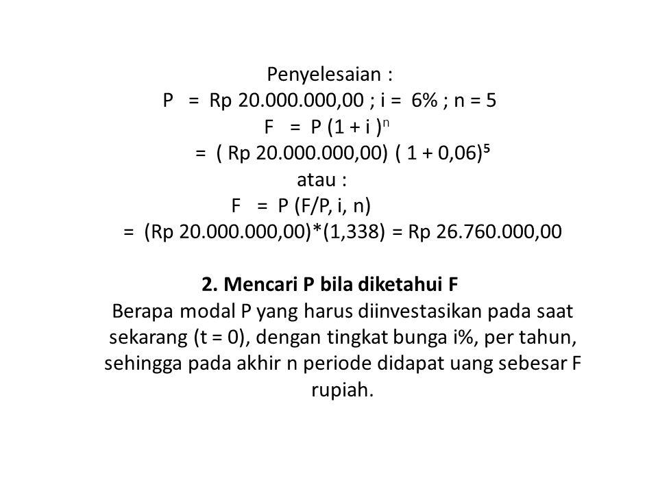 Penyelesaian : P. = Rp 20. 000. 000,00 ; i = 6% ; n = 5 F