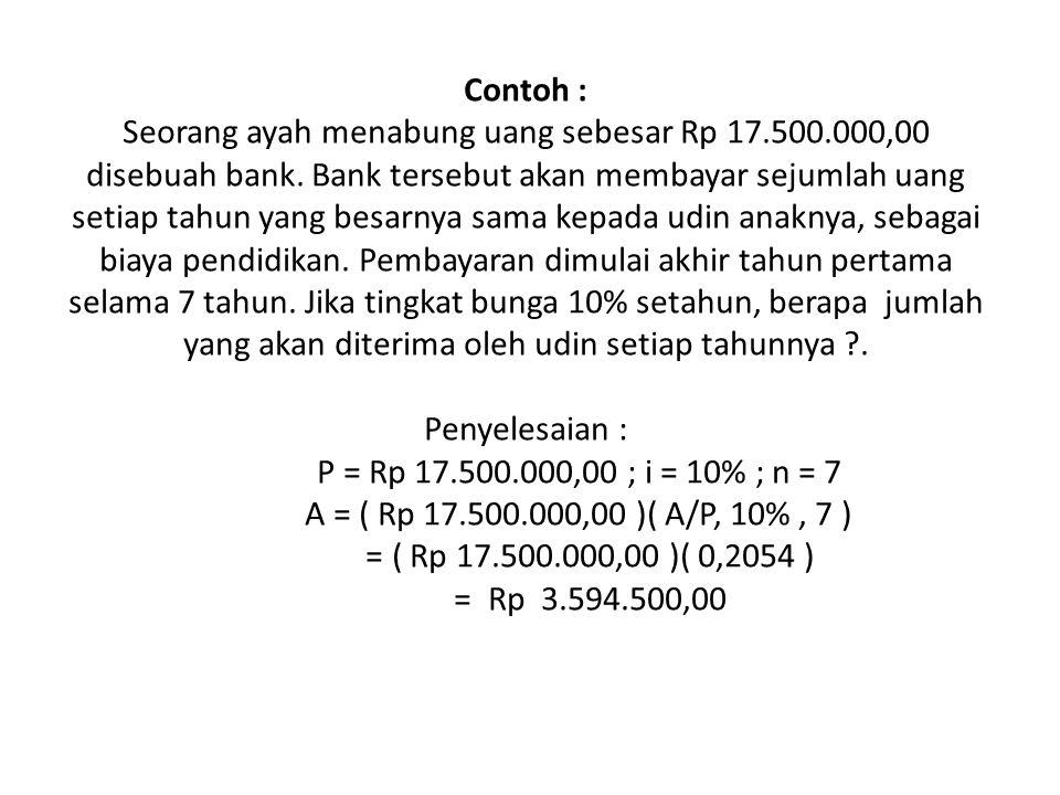 Contoh : Seorang ayah menabung uang sebesar Rp 17. 500