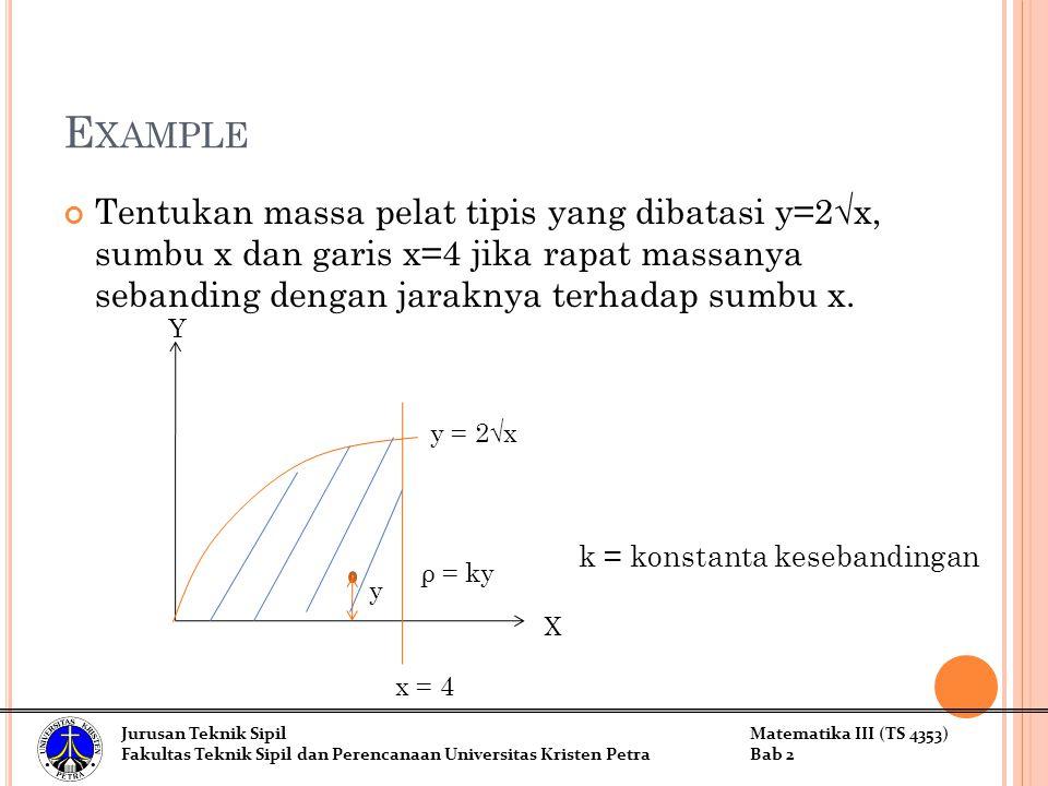 Example Tentukan massa pelat tipis yang dibatasi y=2√x, sumbu x dan garis x=4 jika rapat massanya sebanding dengan jaraknya terhadap sumbu x.