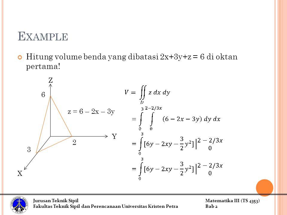 Example Hitung volume benda yang dibatasi 2x+3y+z = 6 di oktan pertama! Z. 6. z = 6 – 2x – 3y. Y.