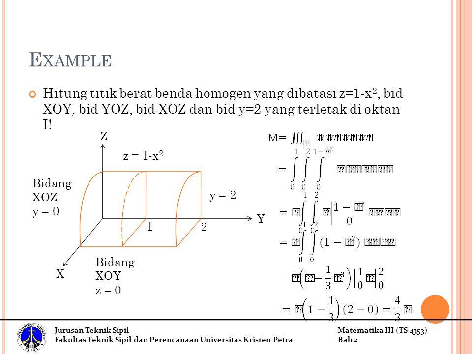 Example Hitung titik berat benda homogen yang dibatasi z=1-x2, bid XOY, bid YOZ, bid XOZ dan bid y=2 yang terletak di oktan I!