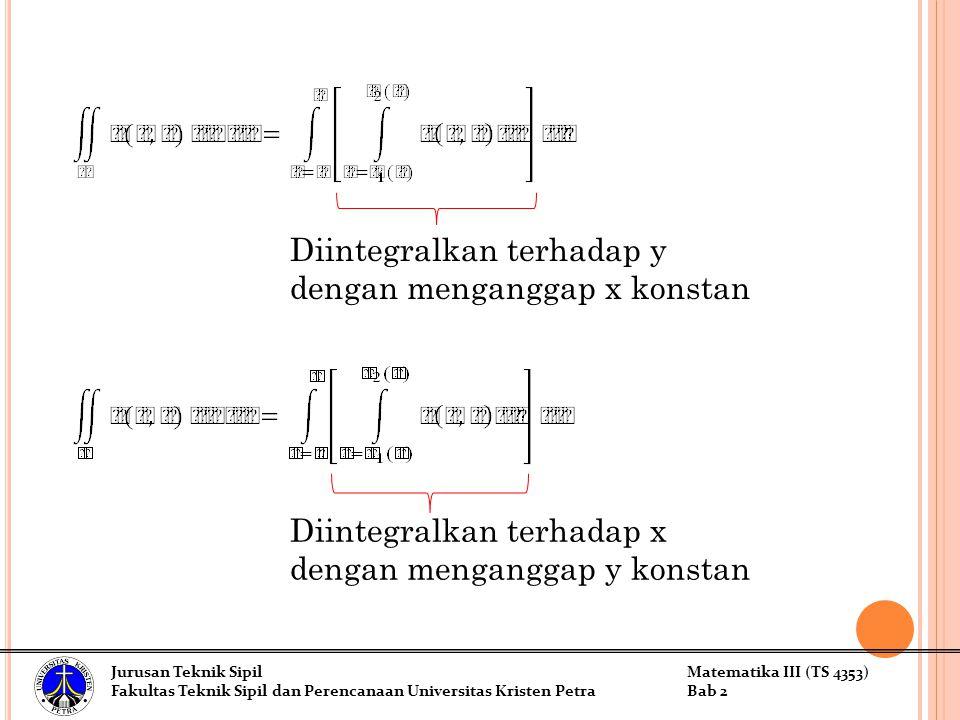 Diintegralkan terhadap y dengan menganggap x konstan
