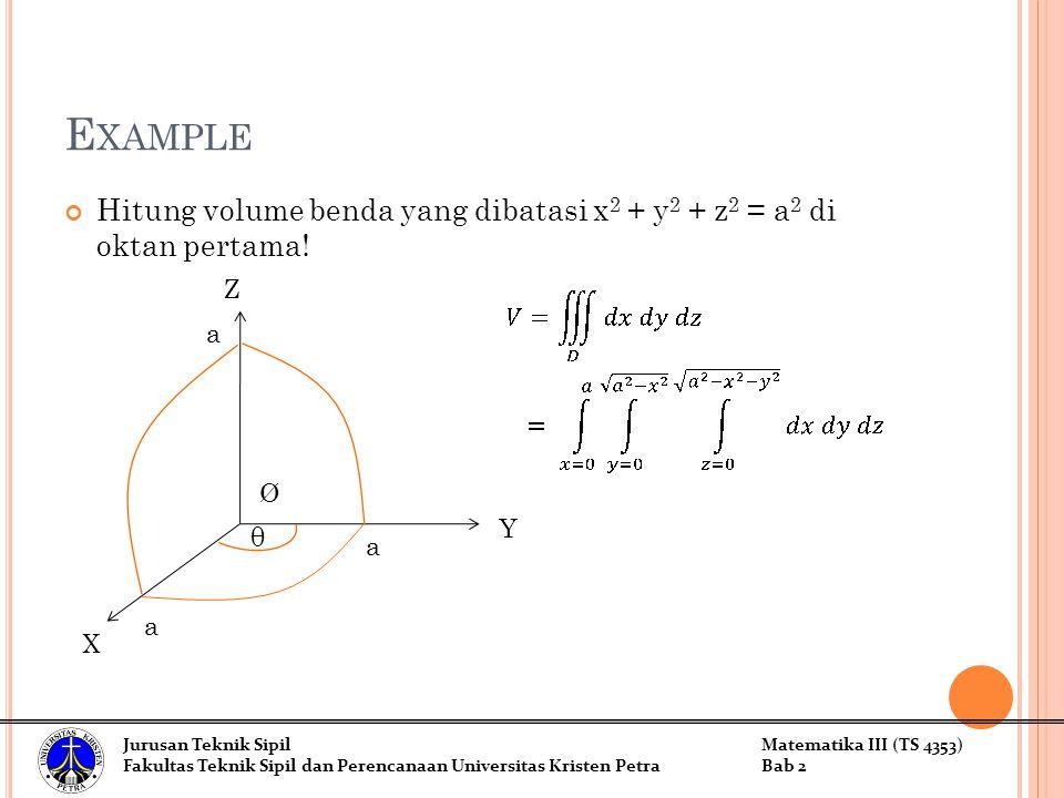 Example Hitung volume benda yang dibatasi x2 + y2 + z2 = a2 di oktan pertama! Z. a. Ø. Y. θ. a.