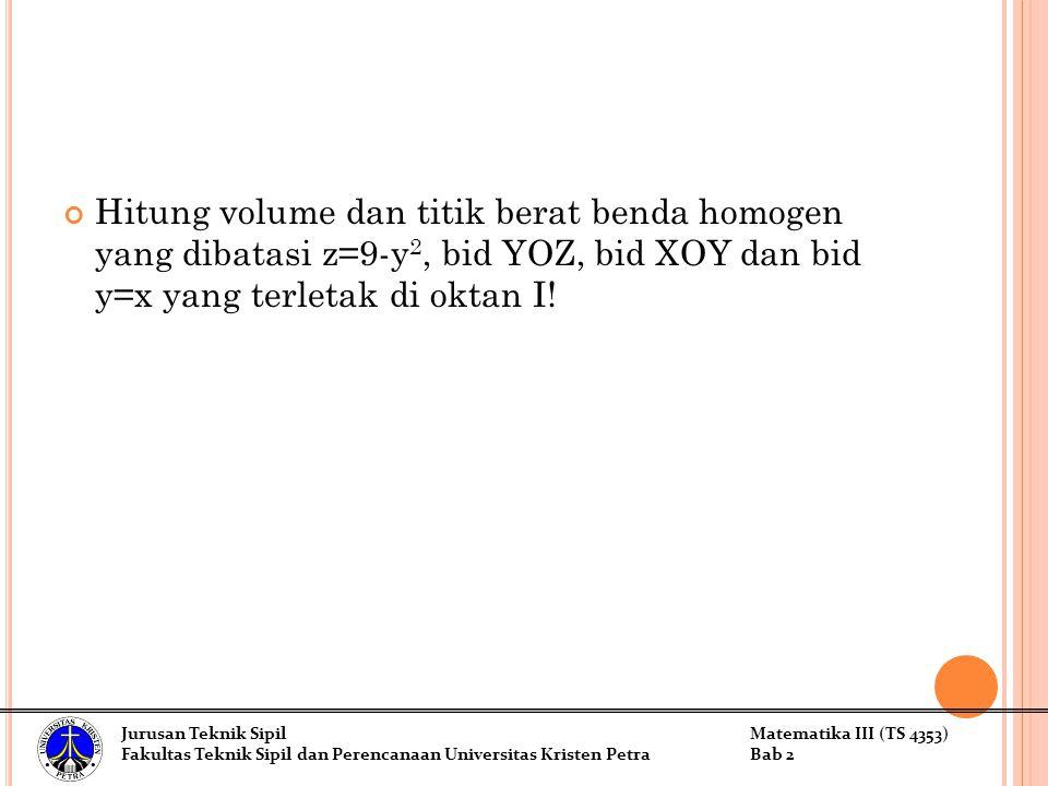 Hitung volume dan titik berat benda homogen yang dibatasi z=9-y2, bid YOZ, bid XOY dan bid y=x yang terletak di oktan I!