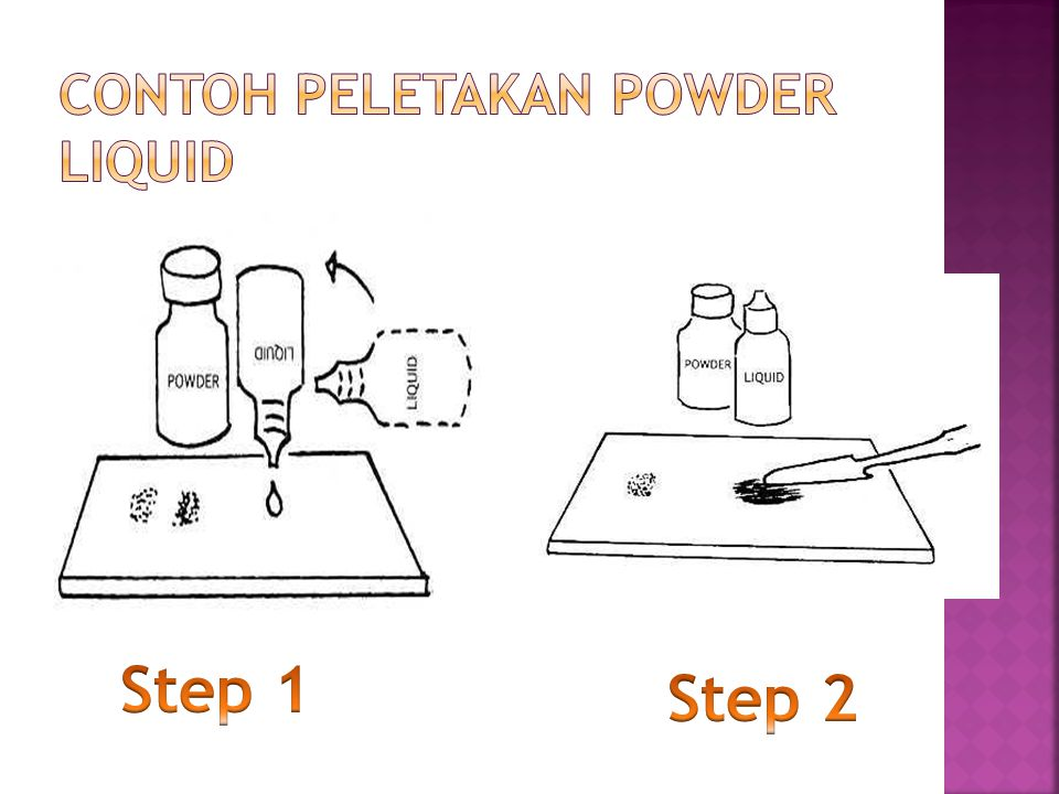 Contoh peletakan powder liquid