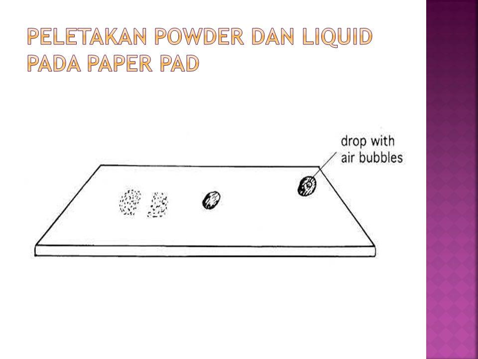 Peletakan powder dan liquid pada paper pad