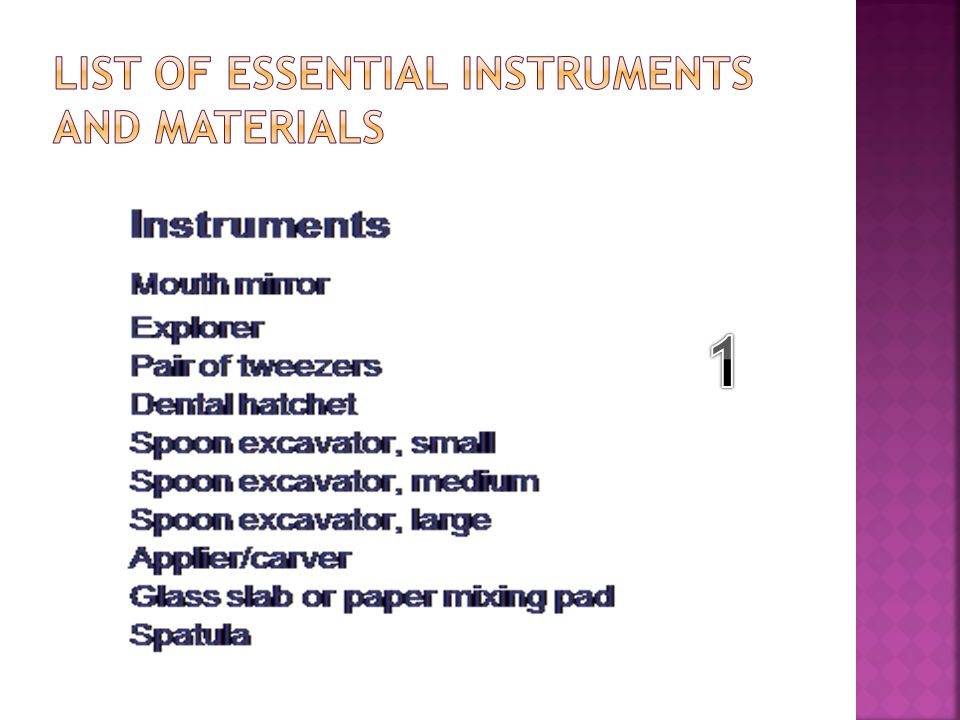 List of Essential Instruments and Materials