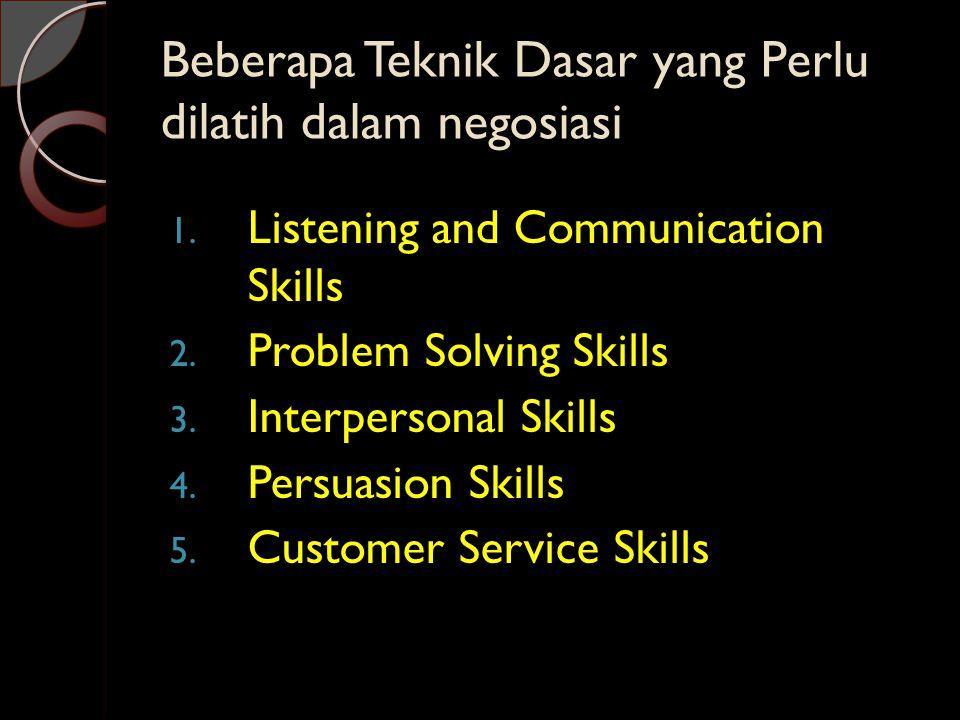 Beberapa Teknik Dasar yang Perlu dilatih dalam negosiasi