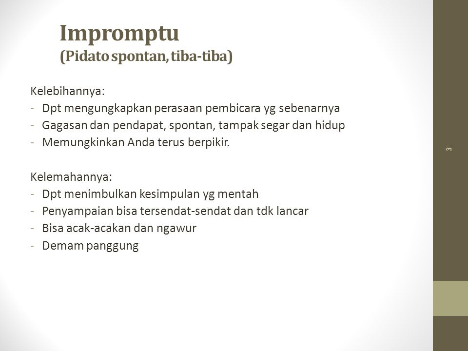 Impromptu (Pidato spontan, tiba-tiba)