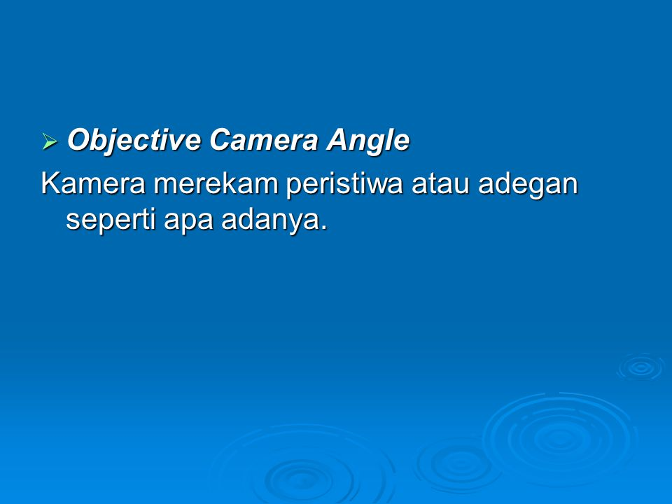Objective Camera Angle