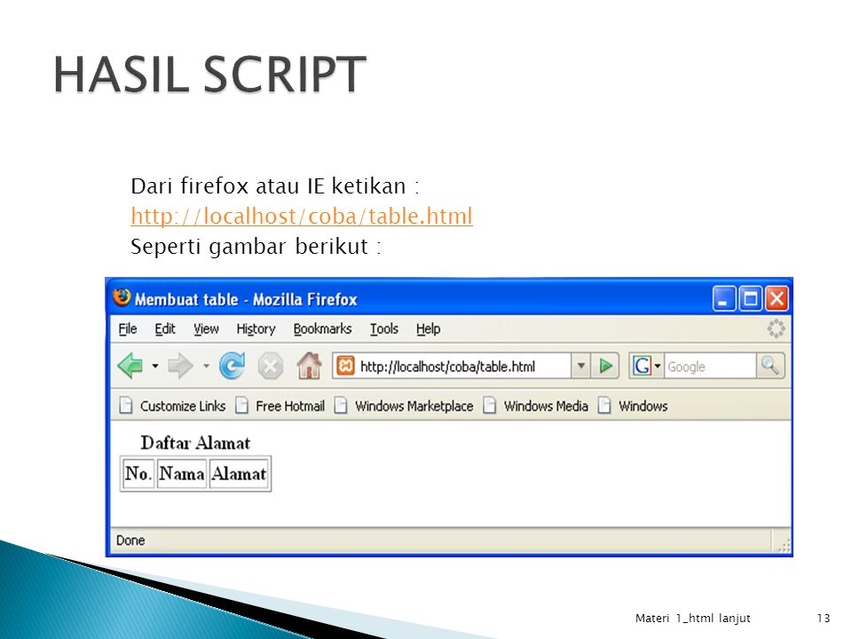 HASIL SCRIPT Dari firefox atau IE ketikan : http://localhost/coba/table.html Seperti gambar berikut :