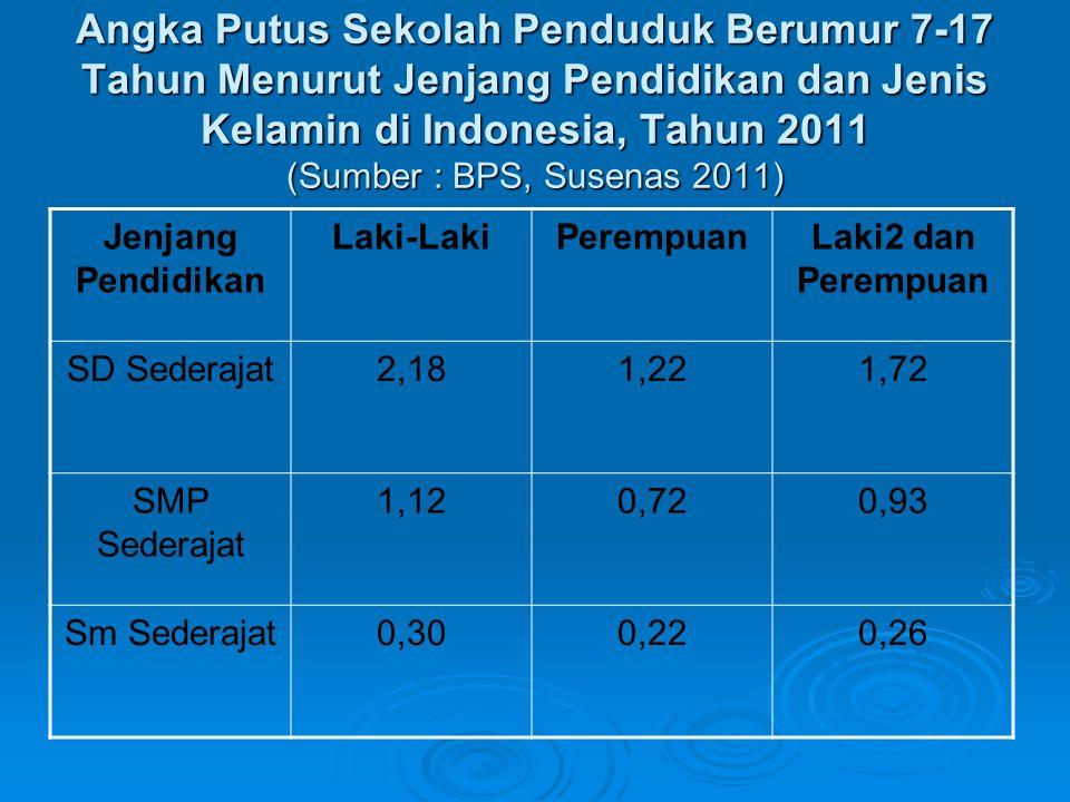 Angka Putus Sekolah Penduduk Berumur 7-17 Tahun Menurut Jenjang Pendidikan dan Jenis Kelamin di Indonesia, Tahun 2011 (Sumber : BPS, Susenas 2011)