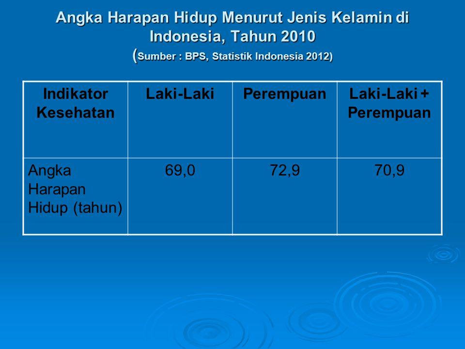 Angka Harapan Hidup Menurut Jenis Kelamin di Indonesia, Tahun 2010 (Sumber : BPS, Statistik Indonesia 2012)