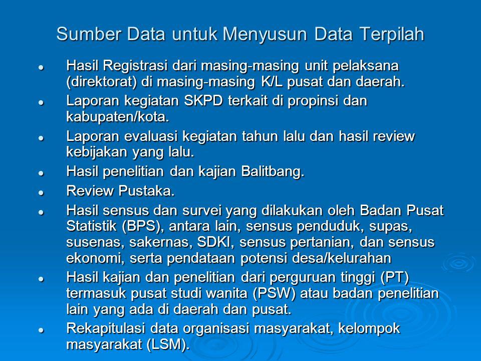 Sumber Data untuk Menyusun Data Terpilah