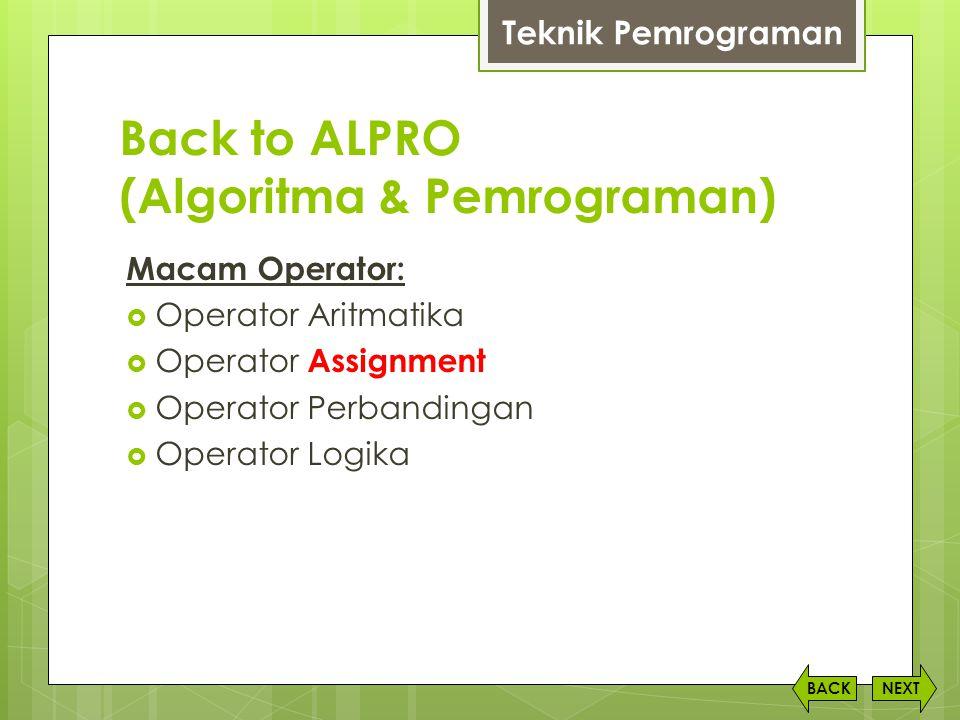 Back to ALPRO (Algoritma & Pemrograman)