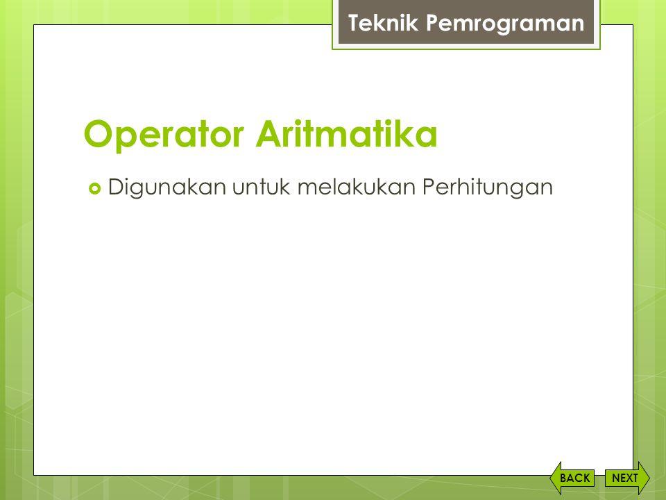 Operator Aritmatika Teknik Pemrograman