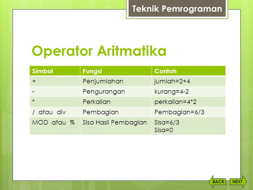 Operator Aritmatika Teknik Pemrograman Simbol Fungsi Contoh +
