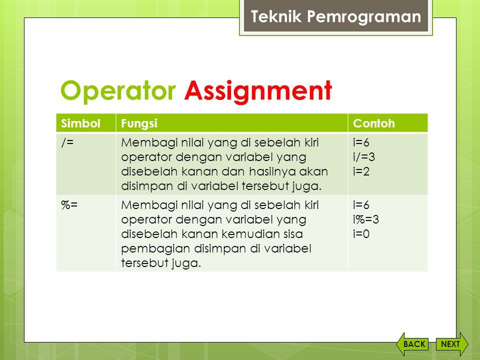 Operator Assignment Teknik Pemrograman Simbol Fungsi Contoh /=