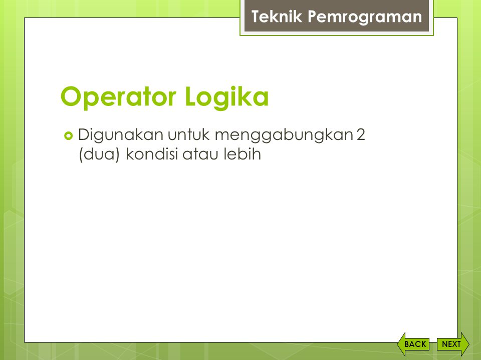 Operator Logika Teknik Pemrograman