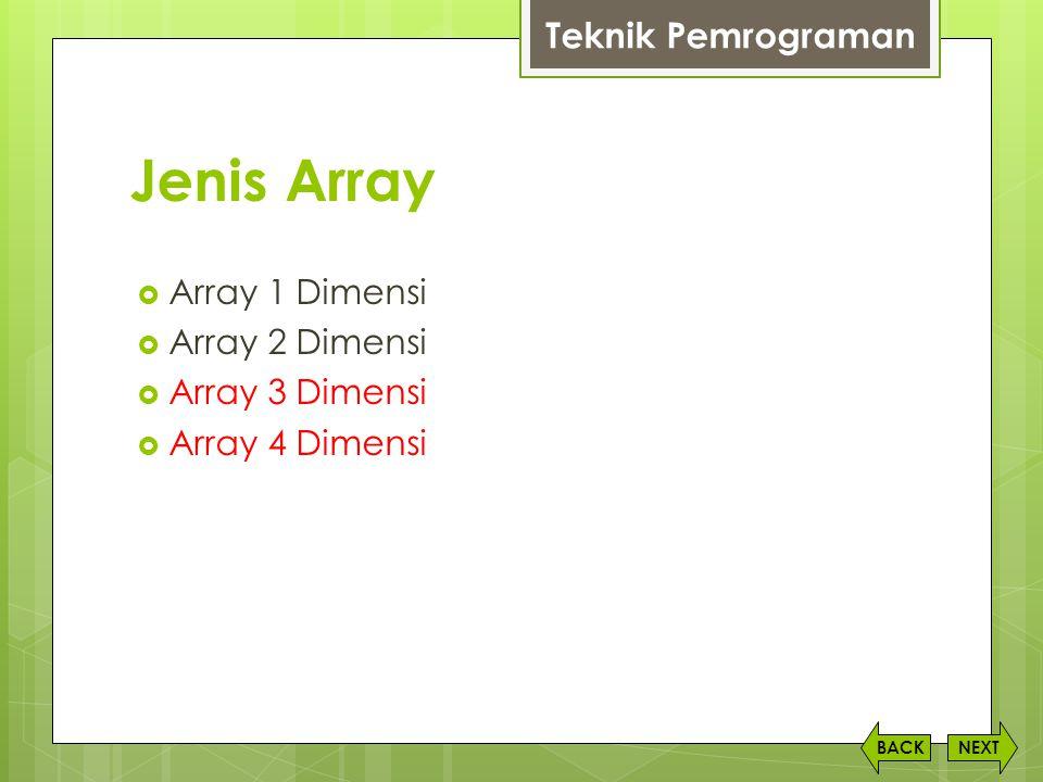 Jenis Array Teknik Pemrograman Array 1 Dimensi Array 2 Dimensi