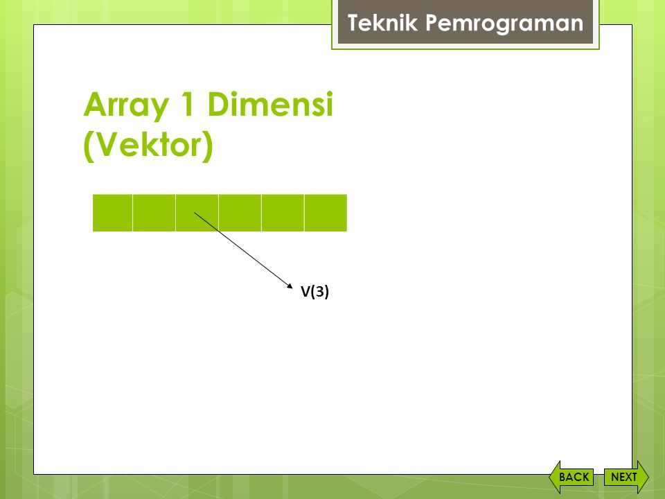 Array 1 Dimensi (Vektor)