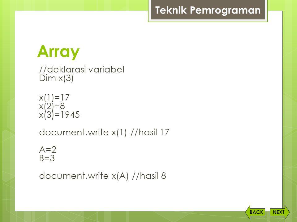 Array Teknik Pemrograman
