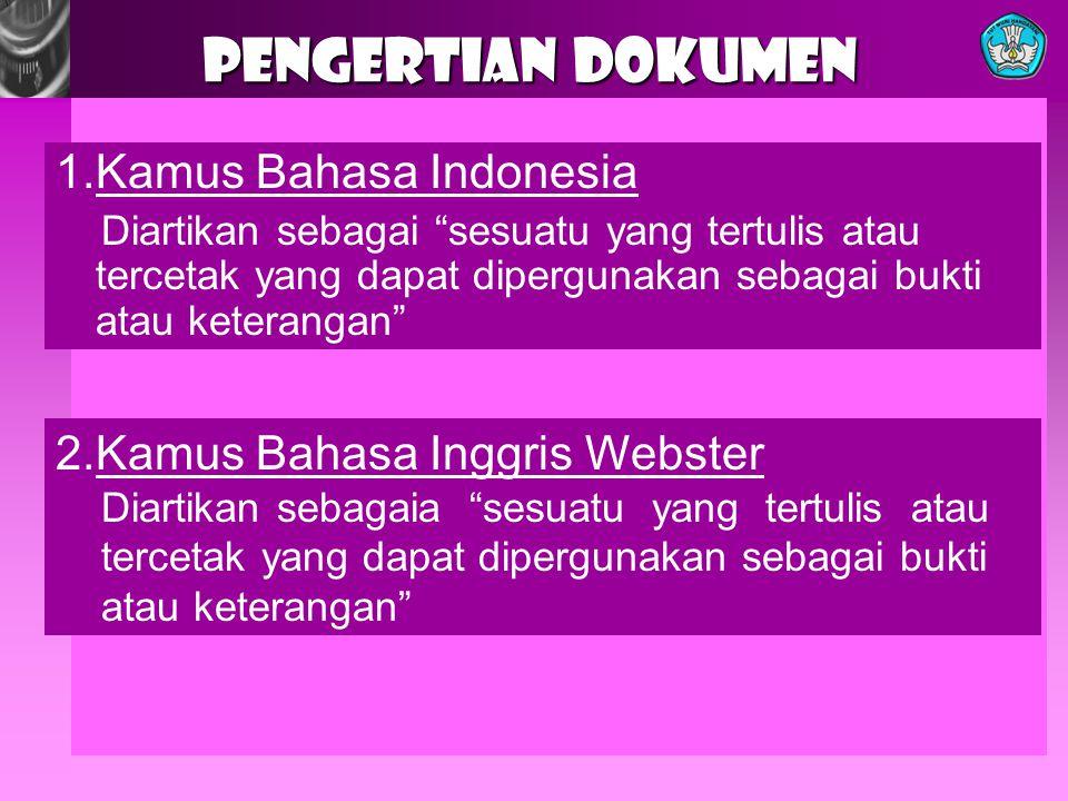 PENGERTIAN DOKUMEN 1.Kamus Bahasa Indonesia